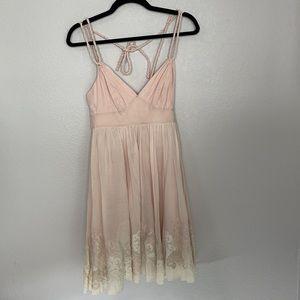 Karen Millen Light Pink Dress Embroidered Rope Straps Size 2